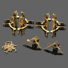 12Pcs 33*30mm Furniture Hinges Wine Case Jewelry Box Lid L 90 Degree Support Spring Hinge for Furniture Gold Hinges for Boxes