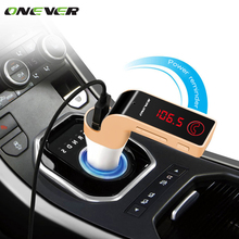 Onever 4 in 1 Wireless Hands Free Bluetooth FM Transmitter Modulator Car Kit MP3 Player SD USB LCD Car Music Player G7 + AUX