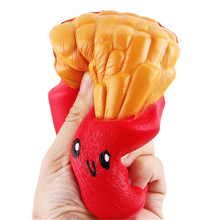 French Fries Elastic PU Stress Relief AntiStress Squishy Squeeze Scented Poke it Squish it Gift Hand Grips Muscle Power Training(China)