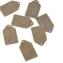 50pcs 21x12x0.3mm Antique Bronze Metal Tags for Jewelry Making DIY, Brass Blank Stamping Tag Pendants