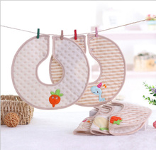 Pure cotton baby color cotton warm embroidery bibs baby donuts 360 degree rounds around the mouth of the towel 27x27cm(China)