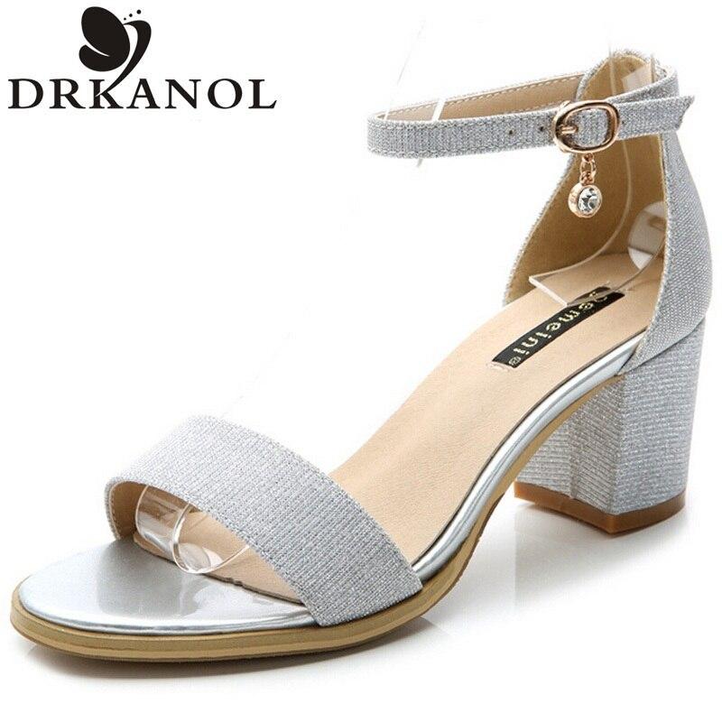 New fashion thick heels sandals women rhinestone buckle strap summer dress shoes elegant mid high heels sandals size 35-40<br><br>Aliexpress