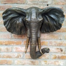 Old antique Bronze Arts & Crafts Elephant copper wall sculpture crafts home decoration the wall hangings gift
