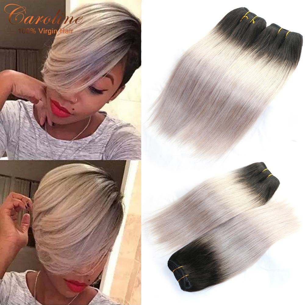 Brazilian Straight Virgin Hair 1B/Grey Ombre Human Hair Bundles 3Pcs/Lot 8A Ombre Straight Virgin Hair Extensions Free Shipping<br><br>Aliexpress