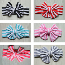 1pc cute Headband big Bow Headband Top Knot Polka Zebra stripesCross Knot headwear Turban Tie Knot Headwrap Hair Accessories(China)