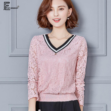 New Arrival Korean Fashion Clothing Women Formal Casual Shopping Pink White Black Sexy Hollow Out V Neck Striped Lace Blouse 934