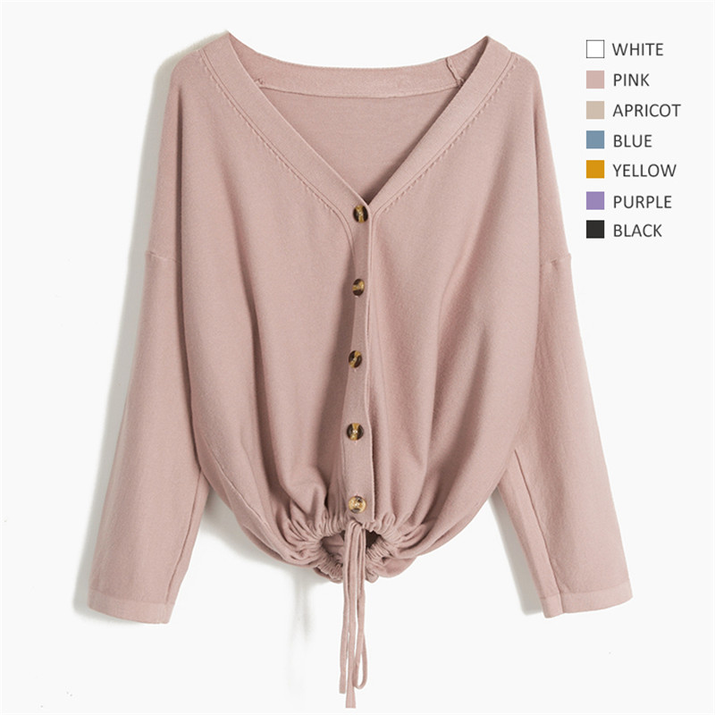 Women Solid Color Female Outerwear autumn Oversized Sweaters Lady Casual Adjustable drawcord to waist Cardigan Plus Size C-233