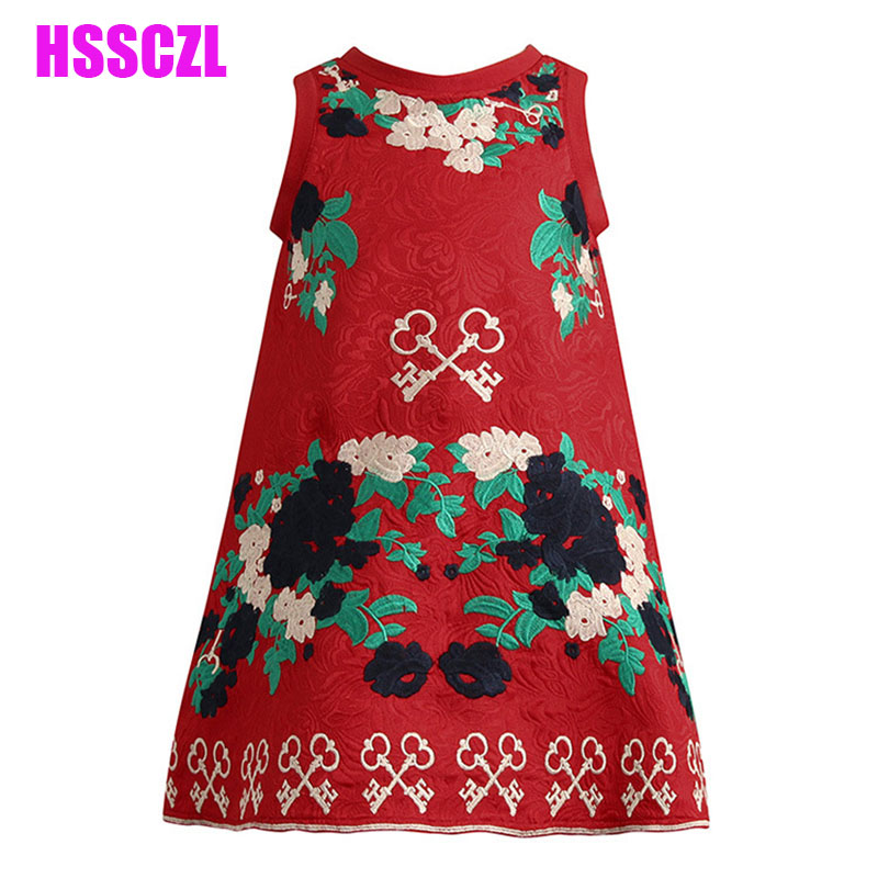 2017 new spring National wind embroidery girl dress high-end red festive children cotton childrens dress clothing sleeveless<br><br>Aliexpress