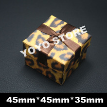 45*45*35mm Wholesale 12Pcs/Lot Fashion Leopard Grain Jewelry Gift Box Packaging Ring Earrings Display Hard Paper Jewellery Box(China)