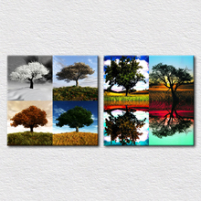 2pcs set tree oil painting canvas printed Spring summer autumn and winter Four seasons puzzle and Lake reflection trees painting