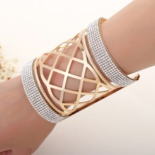 2017 new arrival round big exaggerated punk hollow out gold plated diamond bracelet jewelry products sell like hot cakes