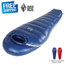 Black Ice G1000 Single Blue/Red Splice-able Ultra-light Winter Outdoor Mummy Goose Down Sleeping Bag