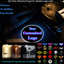 2x Your Customized Logo Wireless Senor Car Door Welcome Ghost Shadow Puddle Laser Projector Spotlight LED Light(China)