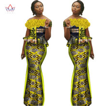 African Bazin Riche Dresses for Women Set Clothes Skirt Top Sets for Women High Waist Skirt Long African Skirt Plus Size WY1422
