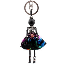 Popular Christmas gift Cute Rhinestone dolls Black Alloy Jewelry key chain multicolor princess Pendant Girls Car key Ring chain(China)