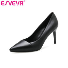 ESVEVA 2017 Women Pumps Spring Autumn Thin High Heel Pump Real Leather OL Shoes Pointed Toe White Wedding Women Shoes Size 34-39