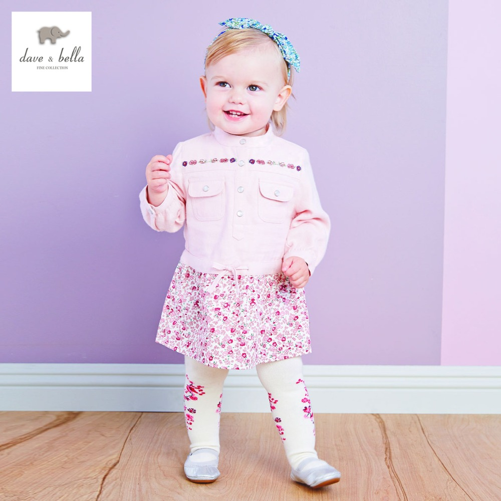 DB2503 dave bella  autumn fashion print princess toddler dress baby clothes infant dress baby girl sweetdesign  dress<br>