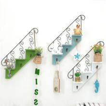 1pcs Metal Stairs Shape Key Hanger Rack Hanging Storage Box Wooden Holder Box Flower Pot Towel Storage Racks Holders Home Decor(China)