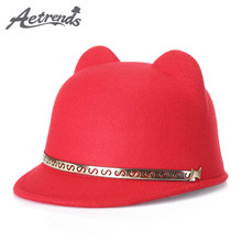 [AETRENDS] 2017 New Woolen Felt Cute Ears Fedora Hats for Women Retro Fedoras Caps Z-5416()