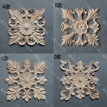 Solid wood furniture fashion plants decoration loudiao square flower dongyang wood carving carved applique wood chip
