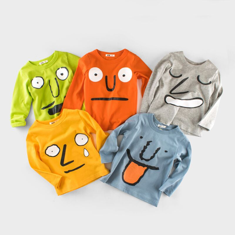 2017 Spring Baby Boy T-shirts Cartoon Face Tees 1-10T Children's Clothing Girls O Neck Long Sleeve T Shirts Kid's T-shirt(China (Mainland))