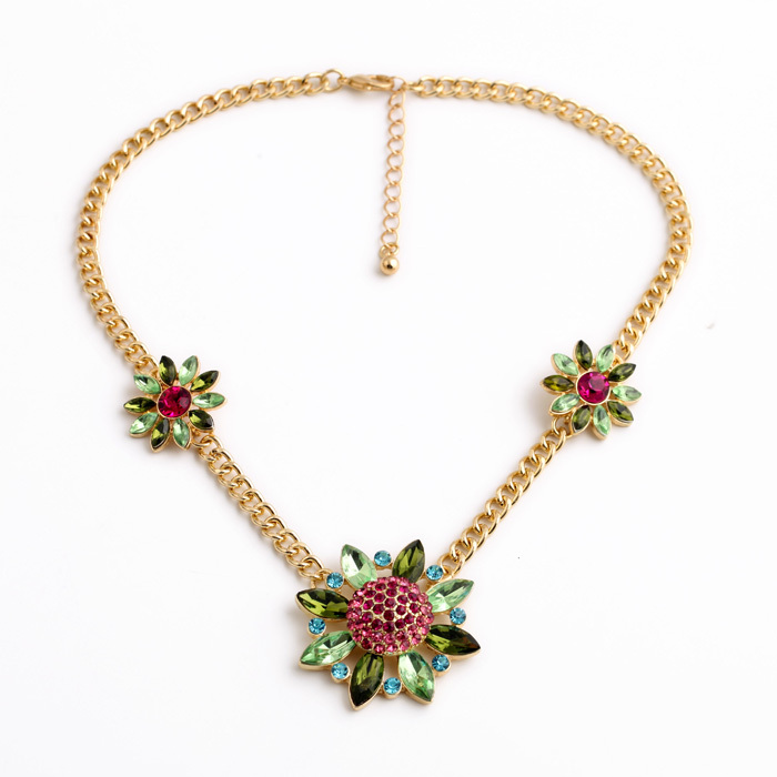 Made Gold Color Long Chain Fashion New Look Classical Vintage Accessory Floral Spike Collar Necklace(China)