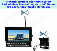 Night Vision Wireless 12V 24V car rearview backup camera system kit for bus truck excavator with 7 inch TFT LCD car Monitor
