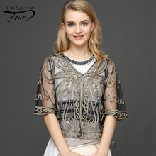 2017 Europe and the United States mother loaded new embroidery tulle lace cloak sun coat jacket cardigan small shawl 832J30