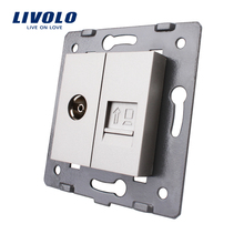 Manufacture Livolo, 2 Gangs Wall Computer and TV Socket / Outlet VL-C7-1VC-15, Without Plug adapter(China)