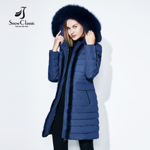 SnowClassic winter long jacket women warm coat fashion spring outwear solid slim thick jacket front edge fox fur collar 2017 new(China)