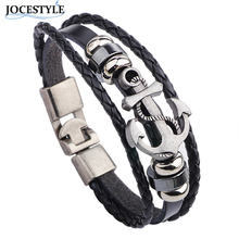 Buy Cuff Leather Bracelets Men 2017 Wrist Band Vintage Punk Rock Fashion Anchor Bracelet Alloy Beads Charm Men Women Jewelry for $1.10 in AliExpress store