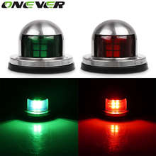 Marine Boat Yacht Light Stainless Steel 12V LED Bow Navigation Lights Red Green Sailing Signal Light