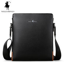WILLIAMPOLO Top Cowhide Genuine Leather Male Messenger Bags Single Shoulder Bag Business Travel Crossbody Bag for Men POLO009D