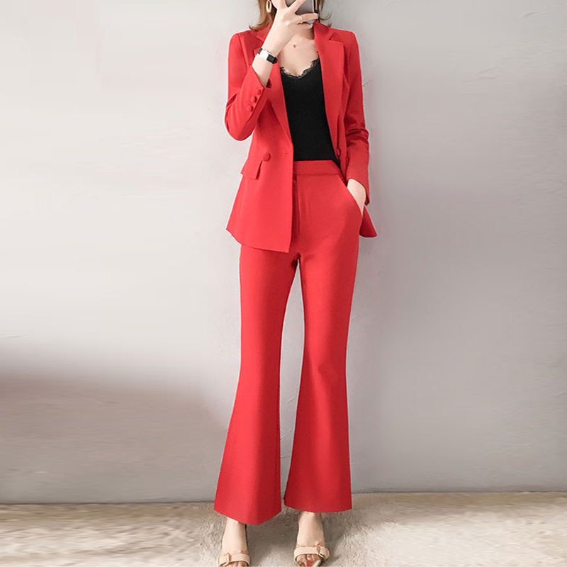 Red RoosaRosee 2019 Fashion Women's Clothing Twinsets Office Lady Red Turn-down Blazer Tops + Flare Pants Two Piece Set OL Suits