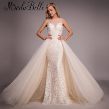 2016 Vintage Champagne French Lace Wedding Dress Puffy Skirt Hochzeitskleider Sheer Back Sexy Mermaid Wedding Gown Real Photo