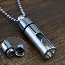 Storage Bottles Necklace Glass Perfume Bottle Pendant Titanium Steel Sealing Practical Jewelry(China)