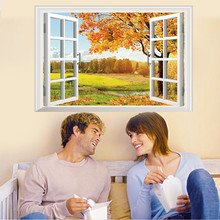 3D window view art home decor wall sticker wallpaper wall decals mural high quality on hot selling new designed branded decor(China)