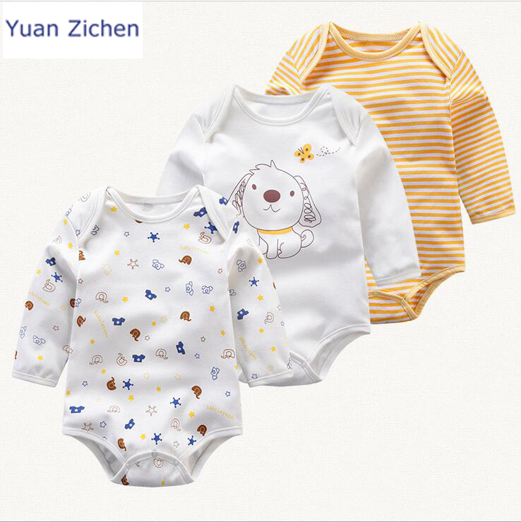 2017 Special Offer Sale Unisex Baby Clothes 3pcs Sets 100% Cotton Cartoon Romper Clothing Long Sleeve Girl Boy Jumpsuit Newborn <br>
