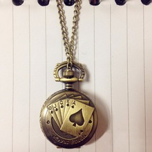 Antique Bronze Royal Flush Poker Cards Pocket Watch Necklace Chain Xmas Gift(China)
