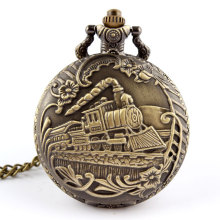 Vintage Bronze Train Front Locomotive Engine Necklace Pendant Quartz Pocket Watch P07