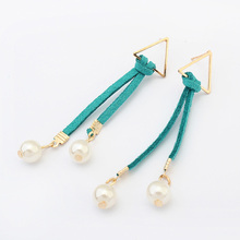 Vintage Gold-color Bar Strip Tassel Fringe Dangle Glass Pearls Earring Women Fashion Velveteen Drop Earrings 2017 New Jewelry
