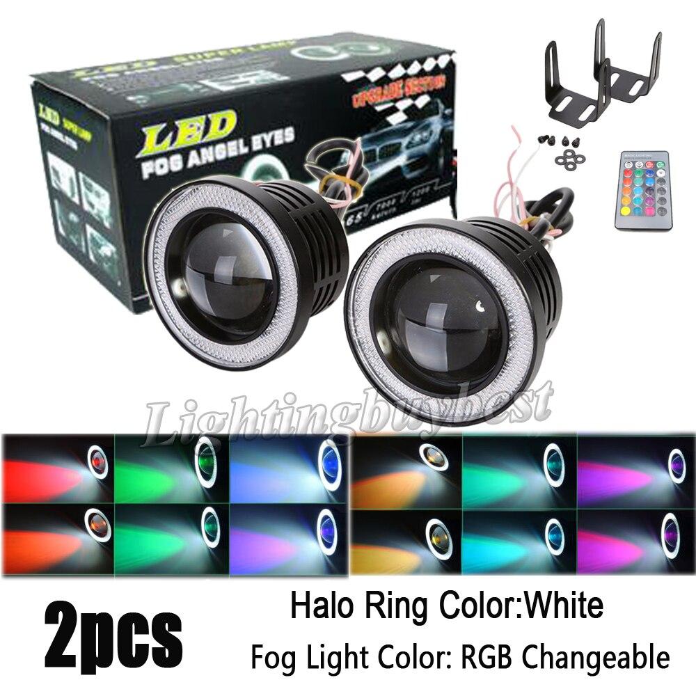 2X 3 inch 3.5 inch 3200Lm RGB LED COB Projector Fog Light Headlight with White Angel Eyes Halo Ring Car Wireless Control SUV<br>
