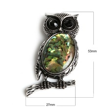 Charming 27x53mm Silver Plated Natural Abalone Shell Owl Shape Stone Beads Pendant Charms Jewelry