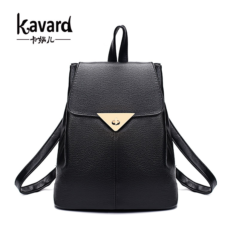 Kavard Famous Brand 2017 Women Backpacks Women Backpack Solid Vintage Girls School Bags for Girls Black Leather Women Backpack<br><br>Aliexpress