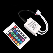24Key Mini IR Remote led Controller DC12V For Led Strip 5050 3528 RGB Led String Ribbon Tape IR remote control with DC cable