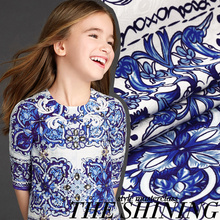 Custom D blue and white porcelain new jacquard  fabric positioning printing cloth tough crisp dark/100*80cm ( a positioning)