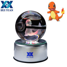 HUI YUAN Charmander Crystal Ball 8CM Rotary Base USB & Battery Powered 3D LED Night Light Desk Table Lamp Decorations(China)