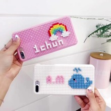 3D Newest DIY Legos Cute Rainbow Whale Blocks Phone Cases For Iphone 6 6S 6Plus 7 7Plus Cartoon Blocks Brick Plastic Back Cover