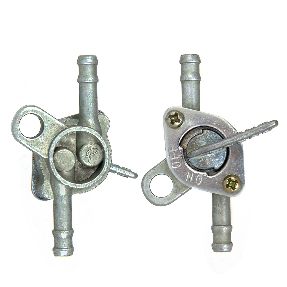 DUAN Fuel Petrol Tank Switch Tap Petcock Gasoline Valve With Two Ends On//Off Switch For Cross-country Motorcycle ATV Moped silvery