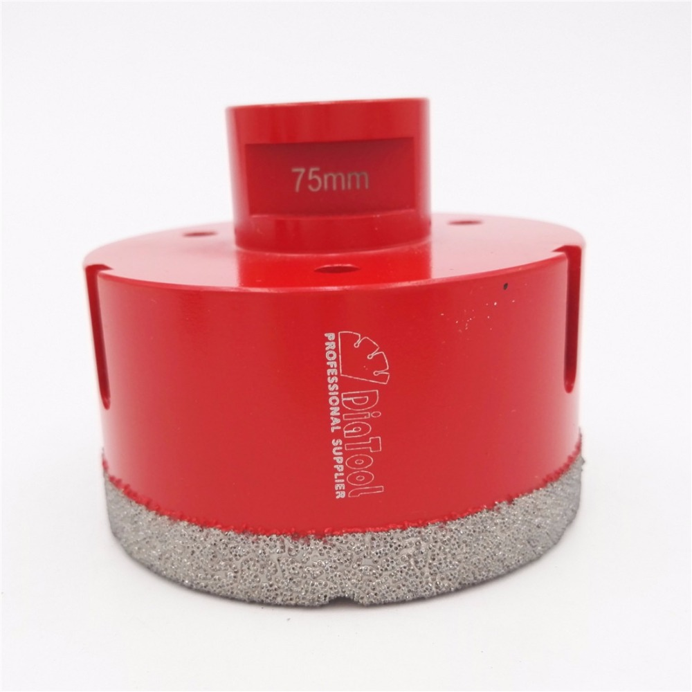 DIATOOL 1pc Dia75mm Red Color Vacuum Brazed Diamond Core Bits With M14 Connection, 10mm Segment Height Drilling Bits<br>